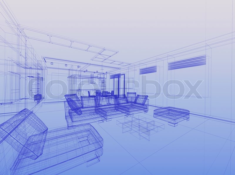 Abstract Wireframe Interior Of Living Room Open Space Over