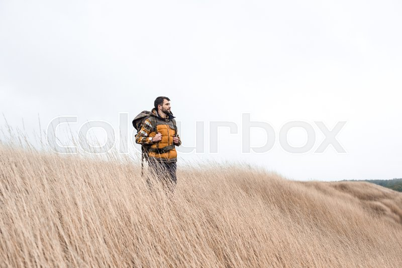 Young bearded man with backpack standing and looking away in countryside, stock photo