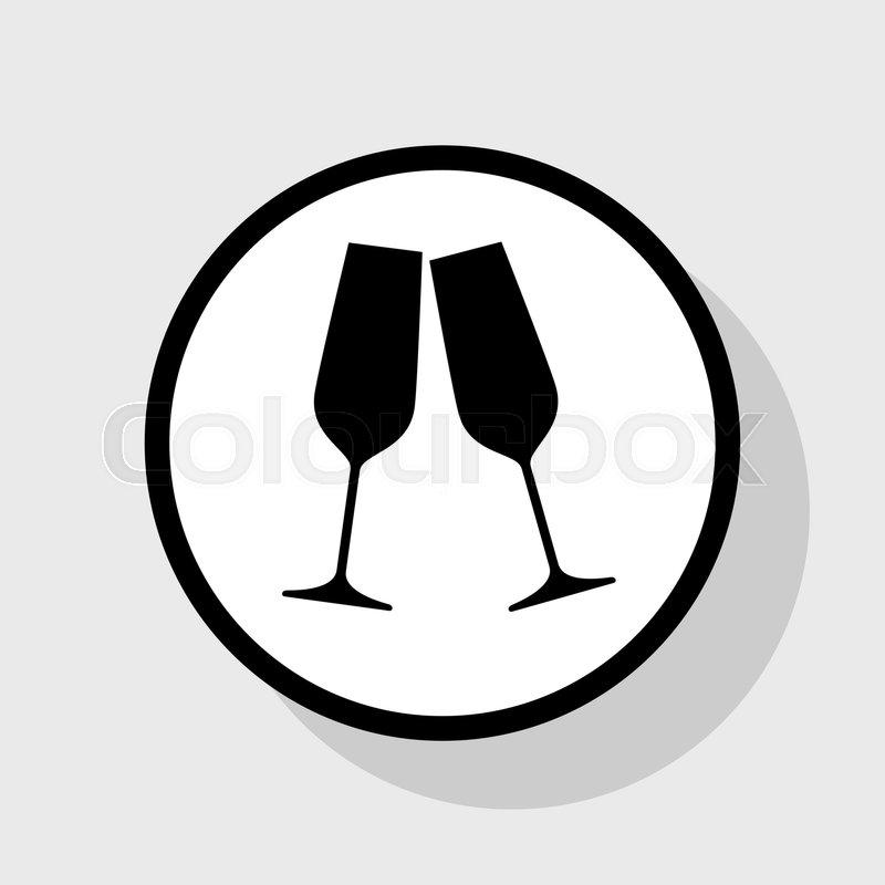 89f0cb58a6 Sparkling champagne glasses. Vector. Flat black icon in white circle ...