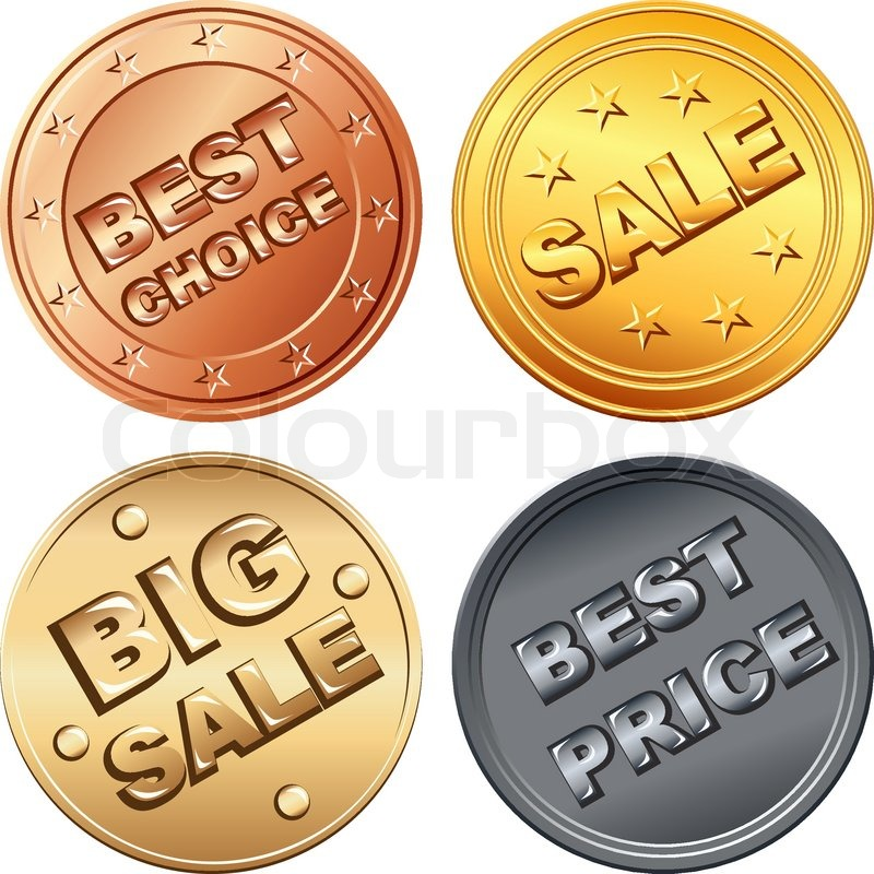 Set Aus Gold Silber Bronze Geld Münze Preisschilder Und Verkauf