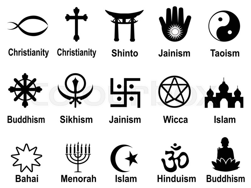 Isolated Black Religious Symbols Icons Set From White Background