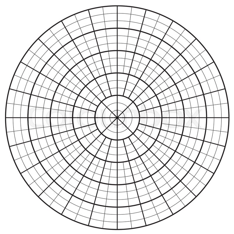 Blank of Polar Graph Paper - protractor vector isolated on white ...