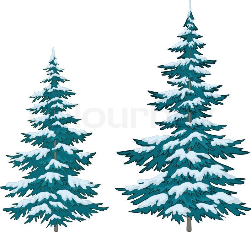 Vector Christmas Tree.Vector Christmas Trees Under Snow On Stock Vector