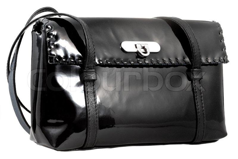 Sort laklæder kvindes taske isoleret | Stock foto