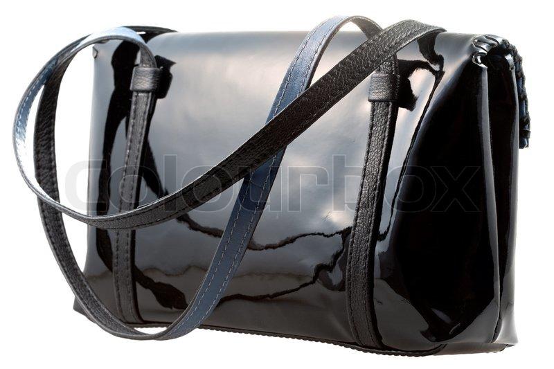 Sort laklæder kvindes taske isoleret | Stock foto | Colourbox