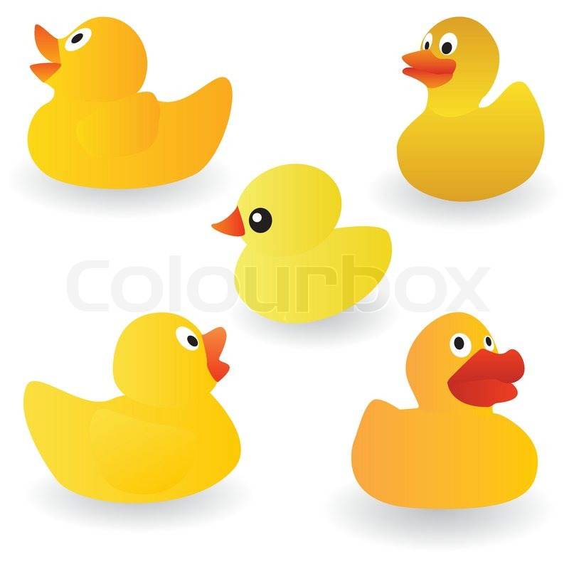 Vector set of yellow rubber duck on the white background