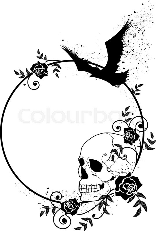 Vector frame with skull, raven and roses in black and white colors ...
