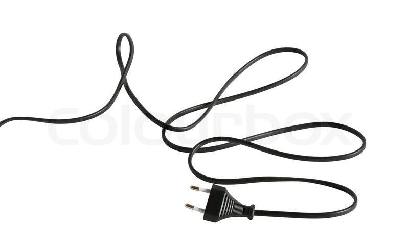 long black cable with electric plug isolated on white background
