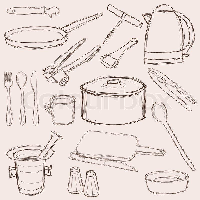 Gro e reihe von doodle k cheneinrichtungen vektorgrafik for Kucheneinrichtungen bilder