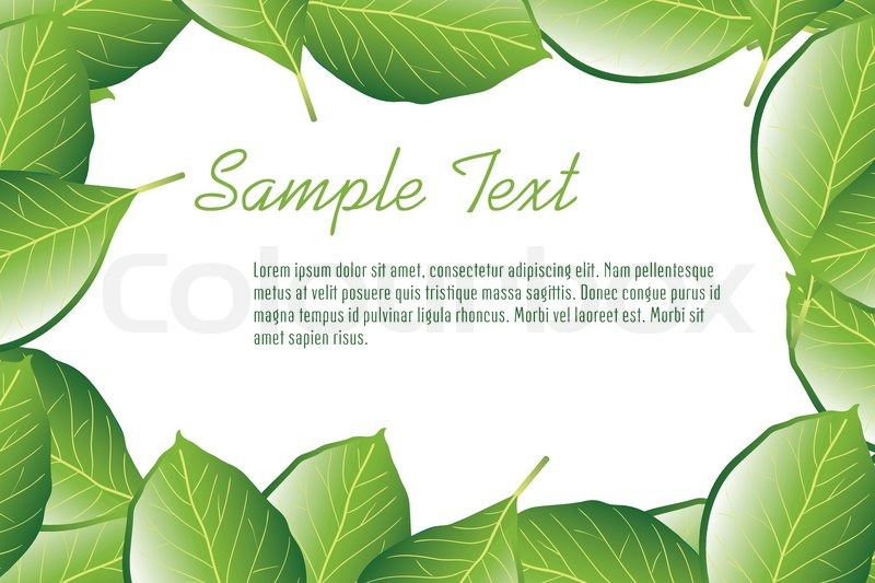 leaf frame with sample text vector