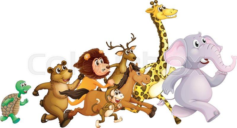 Zoo Animals Together Clipart Wild animals running t...