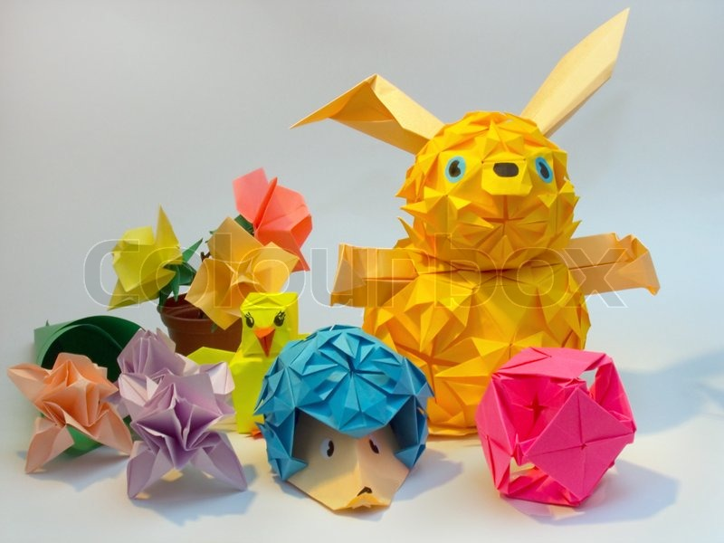 Composition of origami figures hare hedgehog flower ball stock image of composition of origami figures hare hedgehog flower ball mightylinksfo