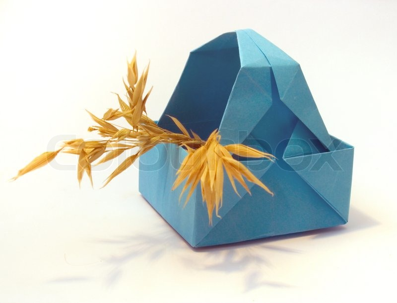 Origami Figure Of Blue Basket With Ears Stock Photo Colourbox