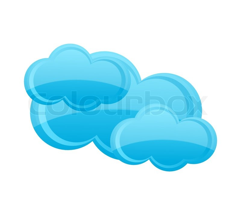 Clear Weather Cloud Symbol Blue Color Isolated Stock Vector