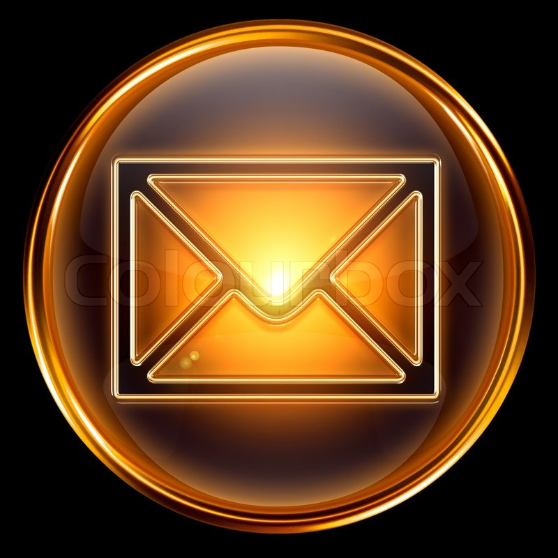 Envelope icon gold, isolated on black background | Stock ... Register Here Button Orange