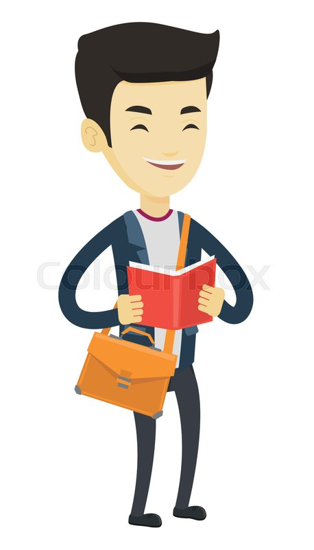 Asian Student Reading A Book Happy Stock Vector