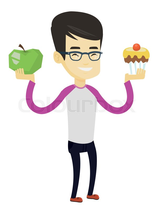 Asian Man Holding Apple And Cupcake Stock Vector