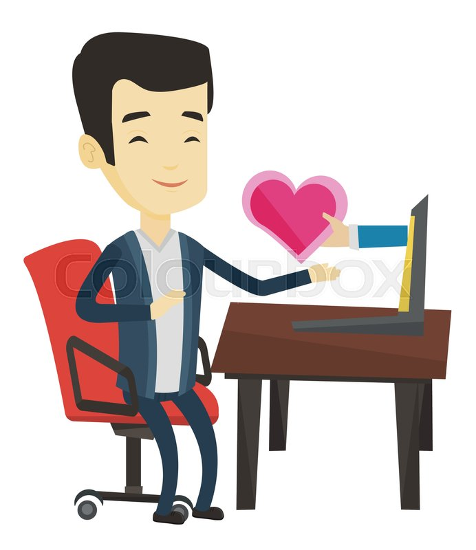 Asian man looking for online date on the internet. Man using laptop and dating  online. Man dating online and getting virtual love message.