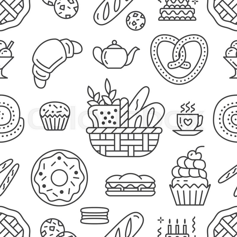 Bakery seamless pattern, food vector ... | Stock Vector ...