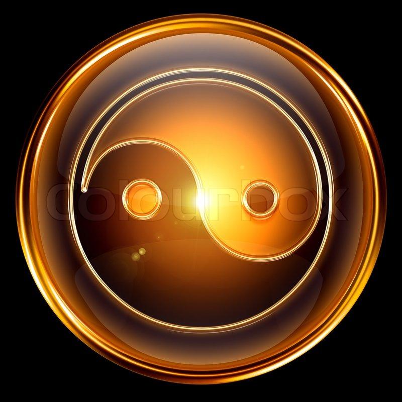Yin Yang Symbol Symbol Golden Auf Schwarzem Hintergrund