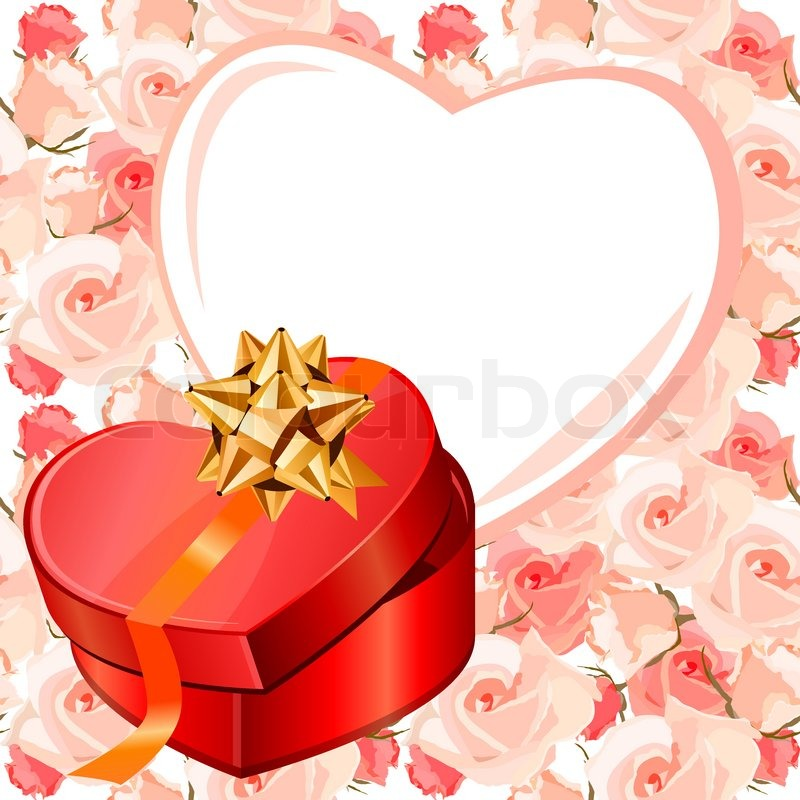 Heart-shaped frame and gift box Background is seamless | Stock ...