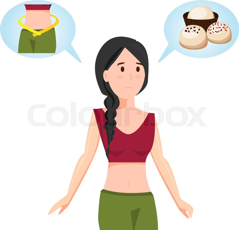 Girl Dream About Food And Beauty Body Vector