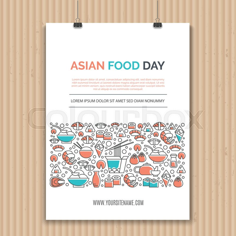 Poster design template with line icons symbols of chinese japanese poster design template with line icons symbols of chinese japanese asian cuisine cafe and food delivery ideal for business layout or announcement wajeb