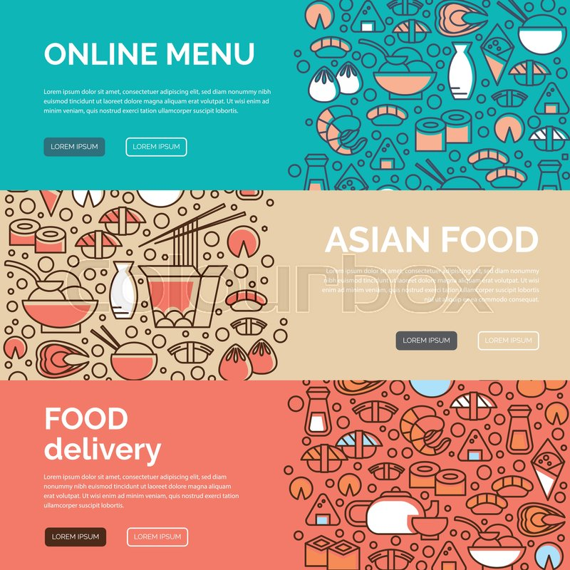 Web Banners Design Template With Line Icons Symbols Of Chinese