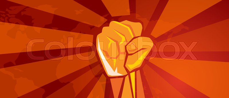 Hand fist revolution symbol of resistance fight aggressive retro hand fist revolution symbol of resistance fight aggressive retro communism propaganda poster style in red with world map background vector vector gumiabroncs Choice Image