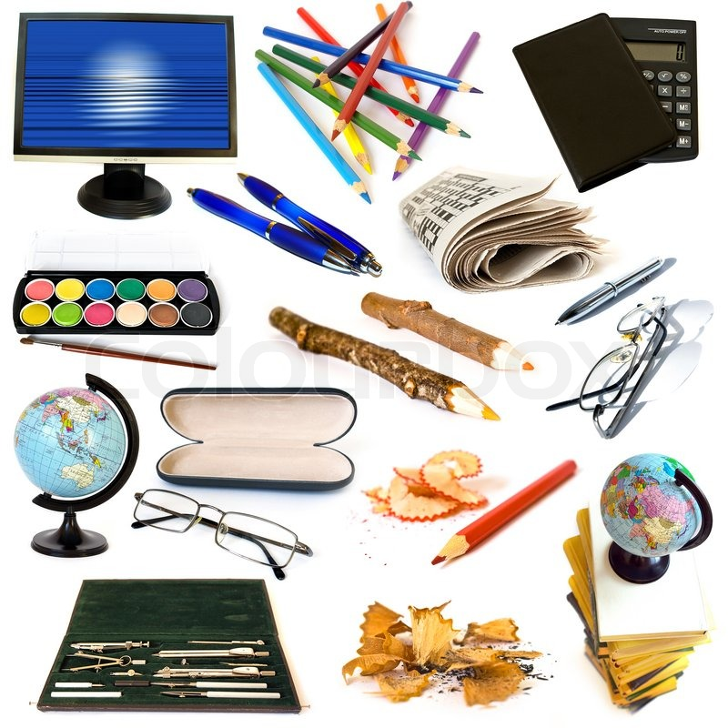 Stock image of 'Group of education theme objects isolated on white background'