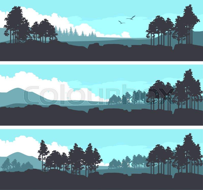vector illustration set of horizontal banners fictional landscape