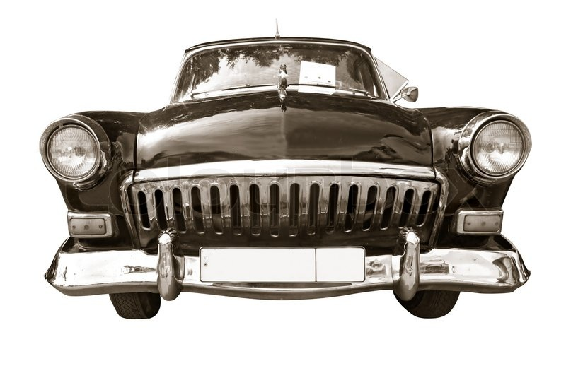 Retro Car On White Background Stock Photo Colourbox
