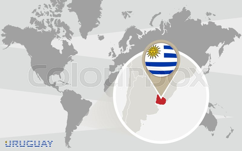 World map with magnified uruguay uruguay flag and map stock world map with magnified uruguay uruguay flag and map stock vector colourbox gumiabroncs Images