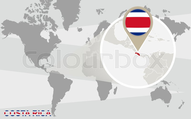 World map with magnified Costa Rica. Costa Rica flag and map ...