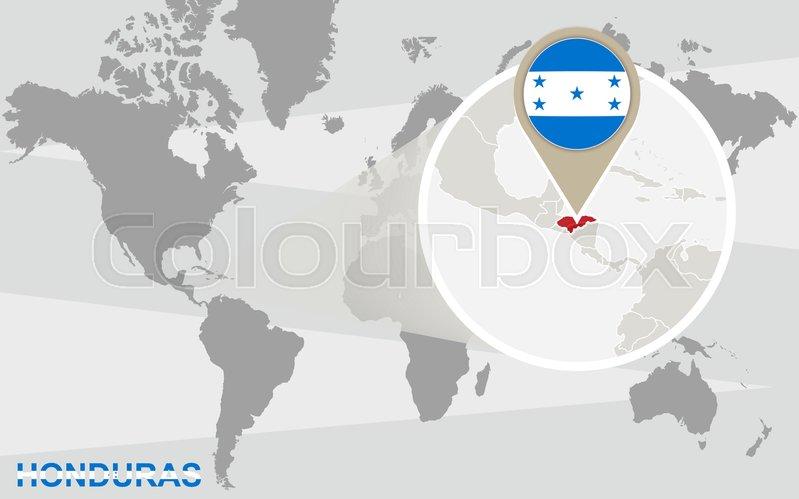 World map with magnified honduras honduras flag and map stock world map with magnified honduras honduras flag and map stock vector colourbox gumiabroncs Gallery