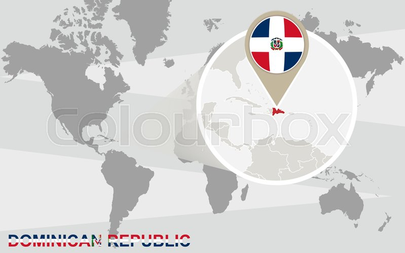 World map with magnified Dominican ... | Stock vector ... on cancun world map, grenada world map, indonesia world map, cuba world map, ecuador world map, guatemala world map, haiti world map, jamaica world map, aruba world map, panama world map, peru world map, bahamas world map, honduras world map, philippines world map, portugal world map, caribbean map, mexico world map, st. lucia world map, samoa world map,