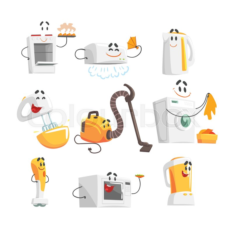 Smiling household appliances set for label design. Home electrical ...