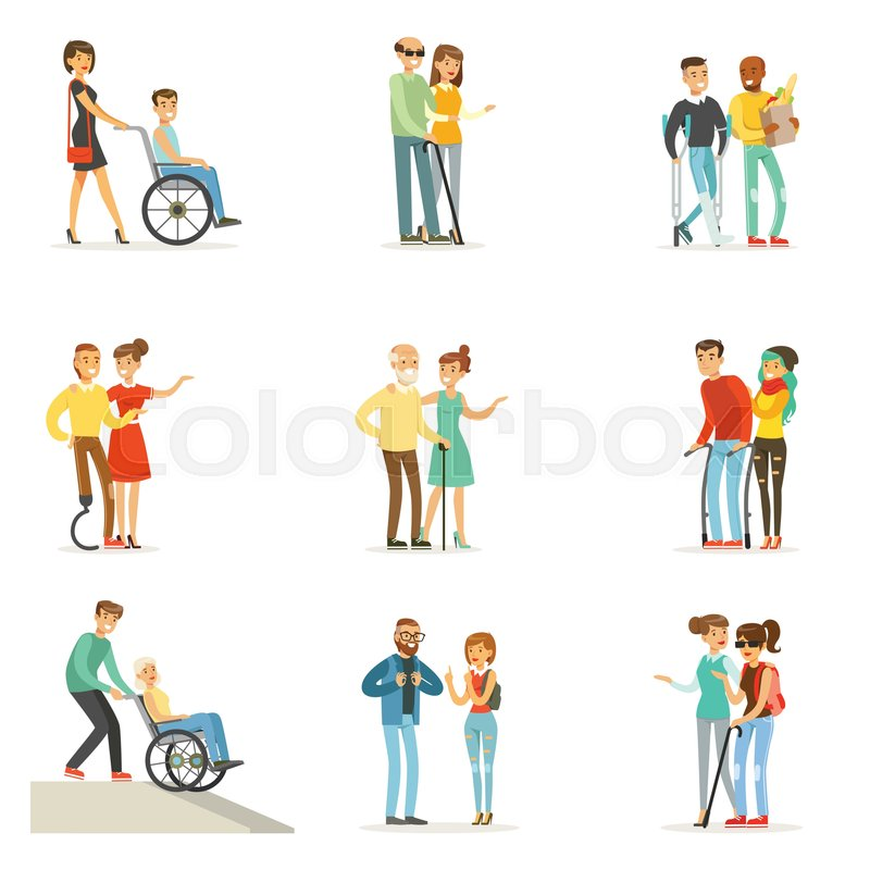 Help And Care For Disabled People Set For Label Design