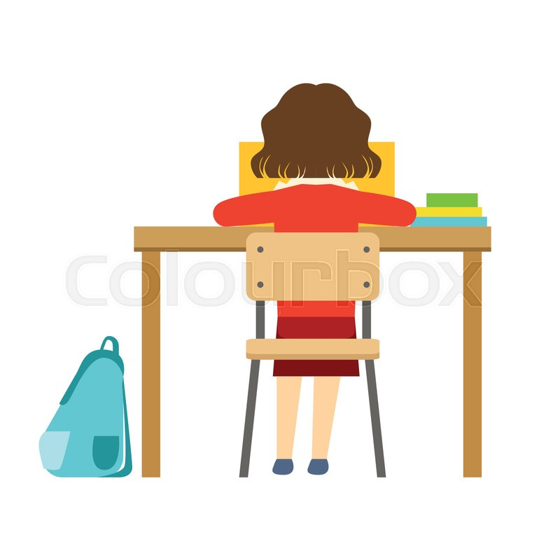 classroom desk drawing. girl reading the book sitting at desk in classroom, part of school and scholar life series minimalistic illustrations. education young students classroom drawing n