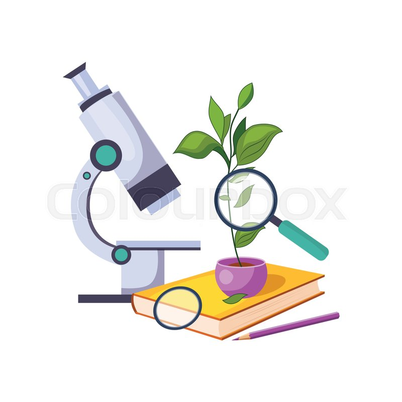 Botany kit with microscope and plant in pot set of school and botany kit with microscope and plant in pot set of school and education related objects in colorful cartoon style scholar inventory illustration flat ccuart Choice Image