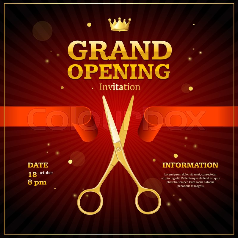 Grand opening invitation card on a red background witch gold scissor cut tape presentation concept ceremony beginning vector illustration stock grand opening invitation card on a red background witch gold scissor cut tape presentation concept ceremony beg Gallery