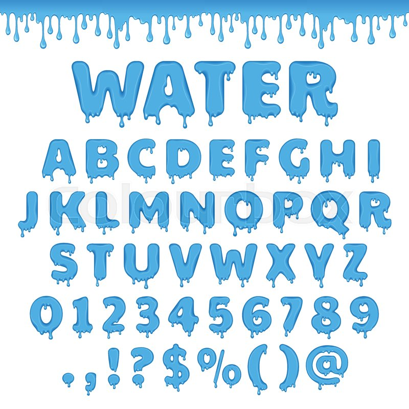 Fresh Water Latin Alphabet Abc Set Of Vector Letters With Splash