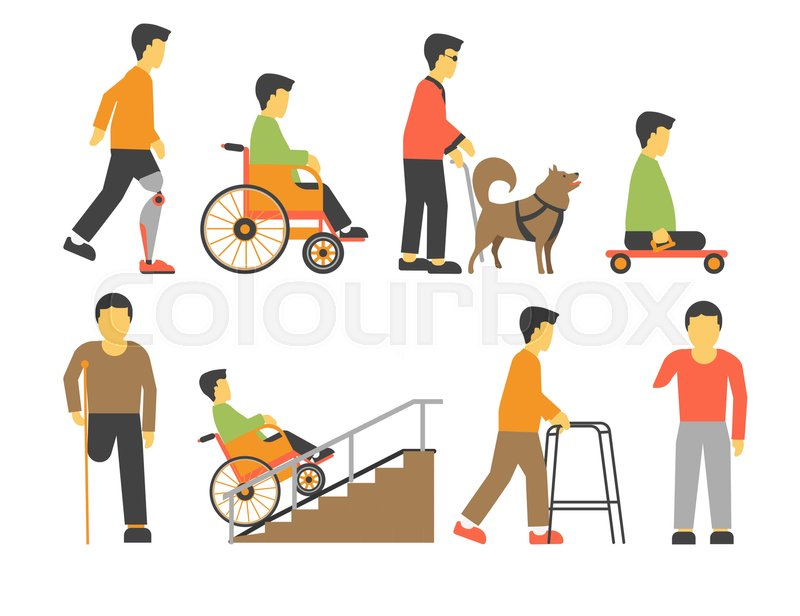 Handicapped people with physical disability. Man in wheel chair with ...