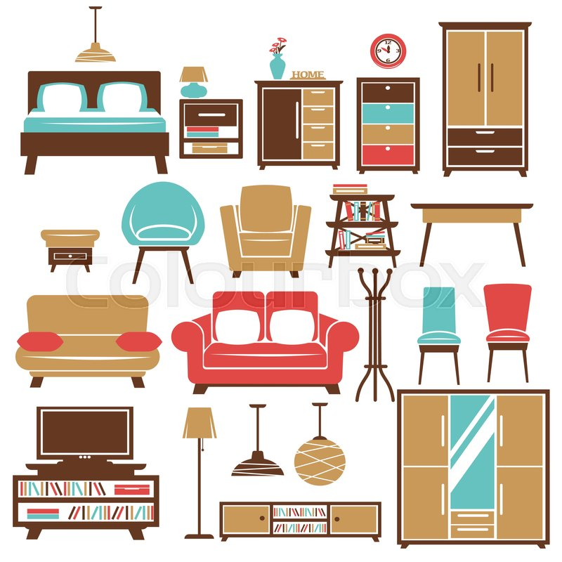 Bedroom Interior Design Set Furniture Vector ~ Home furniture and room interior accessories vector flat