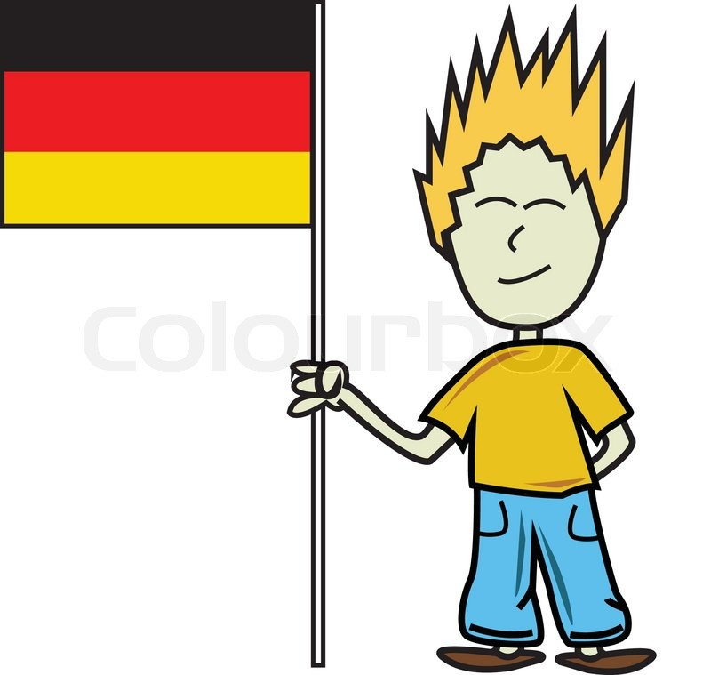 German Boy Holding A Flag Flag Of Germany On Pole The Stock Vector