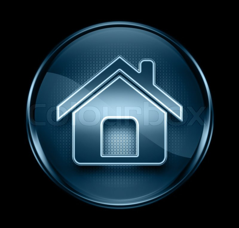 Home Icon Dark Blue Isolated On Black Background Stock