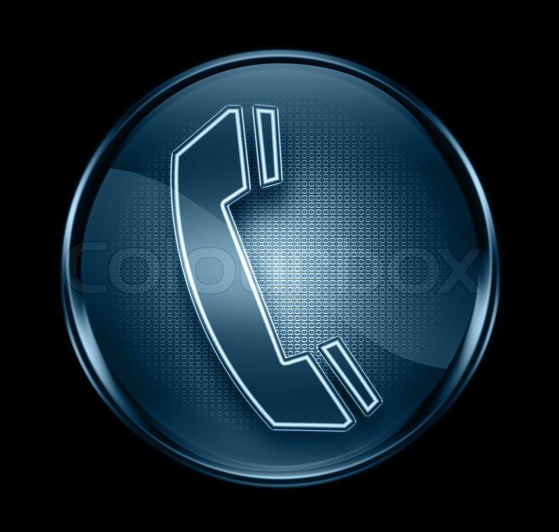 Phone Icon Dark Blue, Isolated On Black Background