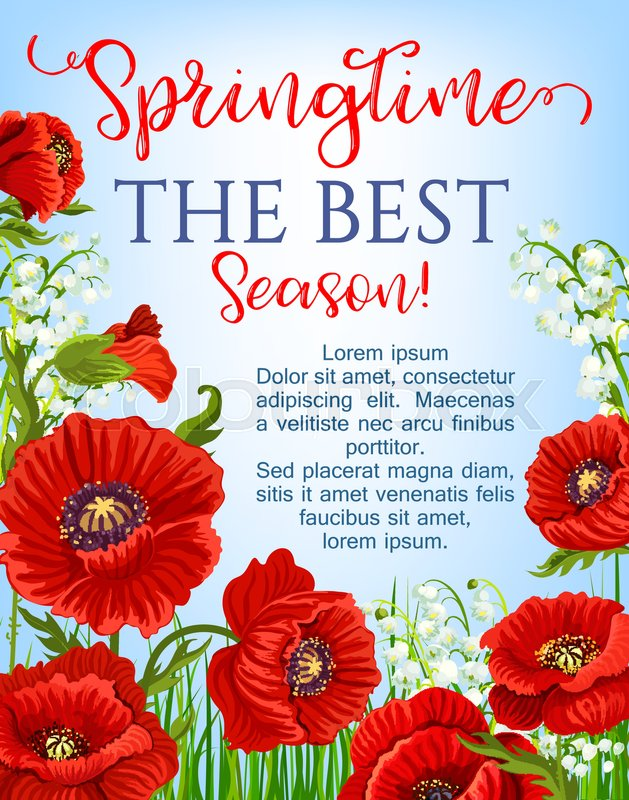 Springtime blooming red flowers design for vector greeting poster garden poppy flowers bunches and flourish lily of valley bouquets floral design template for spring time season holidays quotes stock vector colourbox mightylinksfo