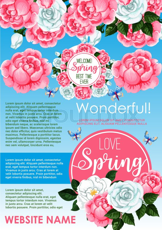 Springtime holidays floral greeting poster spring flowers frame of springtime holidays floral greeting poster spring flowers frame of white rose and pink peony green branches leaves and flying butterfly for spring season mightylinksfo