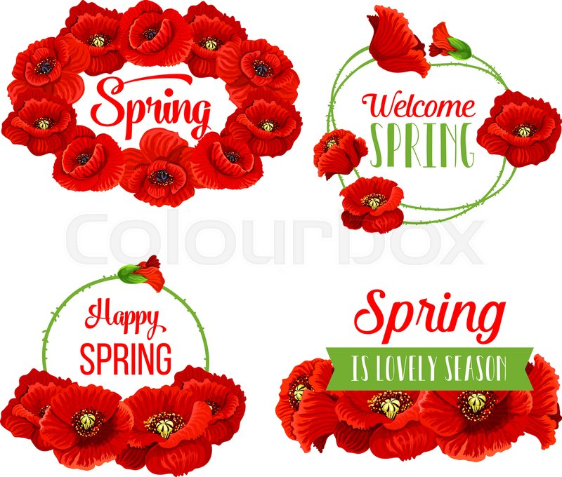 Springtime flowers bunches set with spring seasonal greeting quotes springtime flowers bunches set with spring seasonal greeting quotes and poppy flowers bouquets welcome spring vector text on green ribbons with set of red mightylinksfo